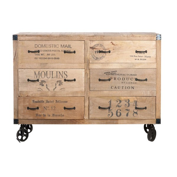 purchase cheap b3b62 2bfd5 Chest Of Drawers+Wheels 6 Drawers Wood Natural