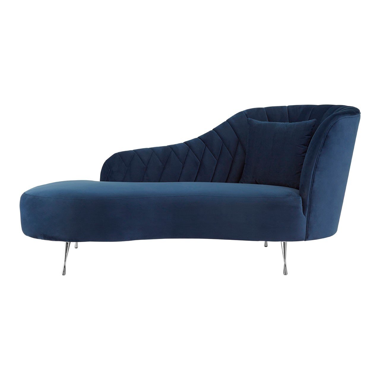 new arrival fa1a2 3235c Rene Dark Blue Velvet Right Arm Chaise Longue