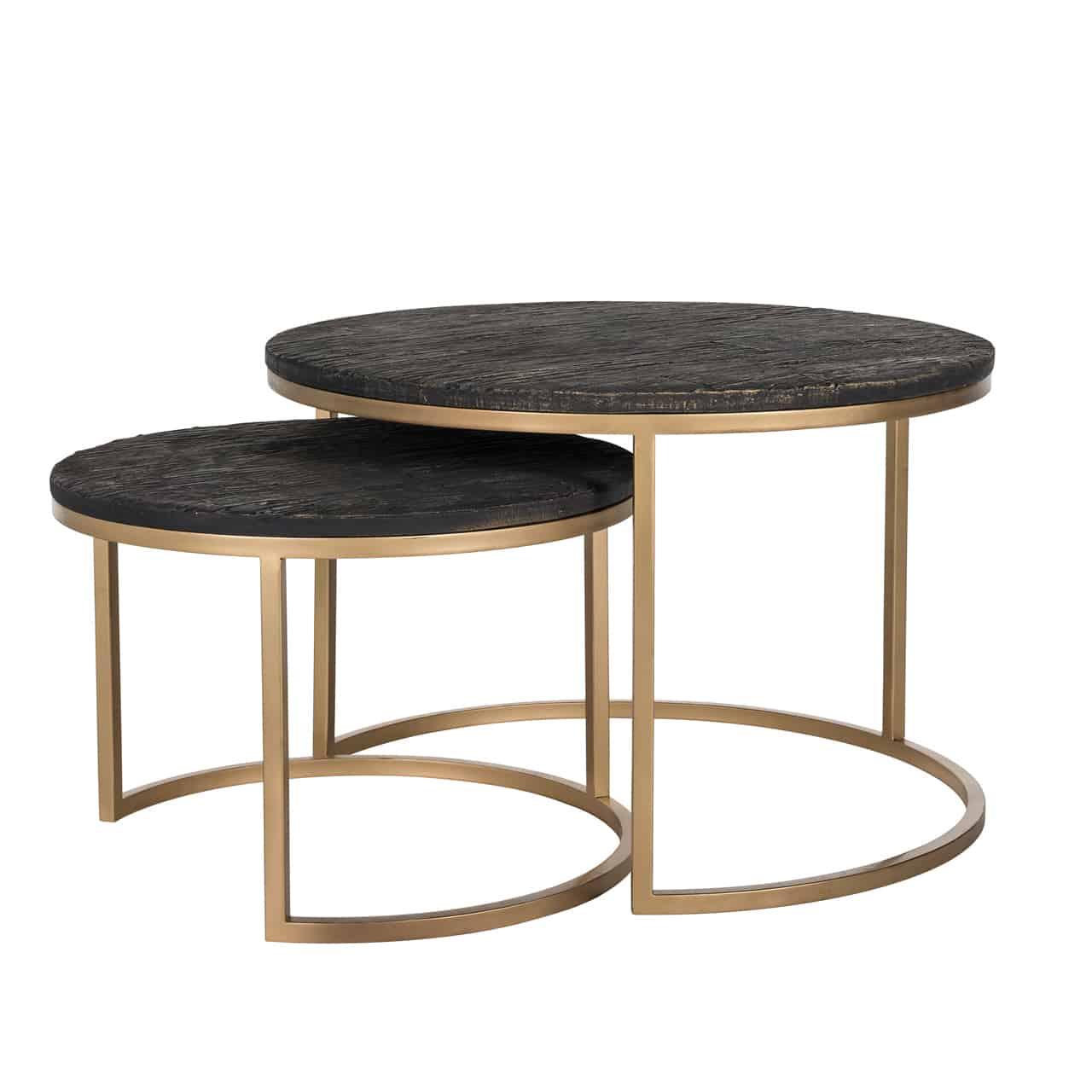 Picture of: Coffee Table Set Of 2 Round Gold Mylestone Interiors Ltd