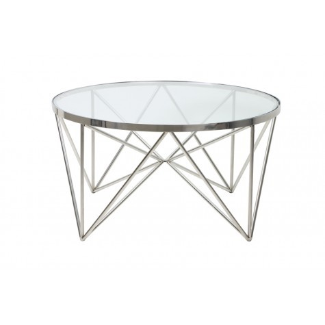 Chrome Glass Coffee Table 80cm Round Table Nickel With Glass