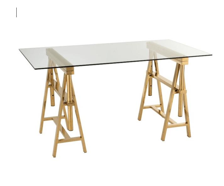 buy online 94c37 bdf0e Desk Adjustable Stainless Steel/Glass Gold/Transparent