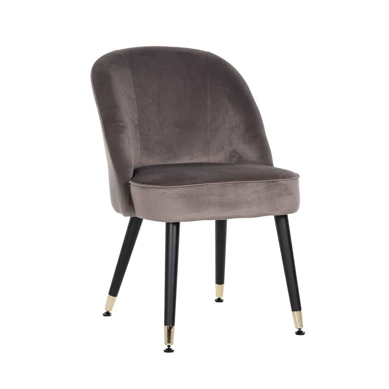 Picture of: Fossa Dining Chair Stone Velvet Gold Leg Caps Mylestone Interiors Ltd