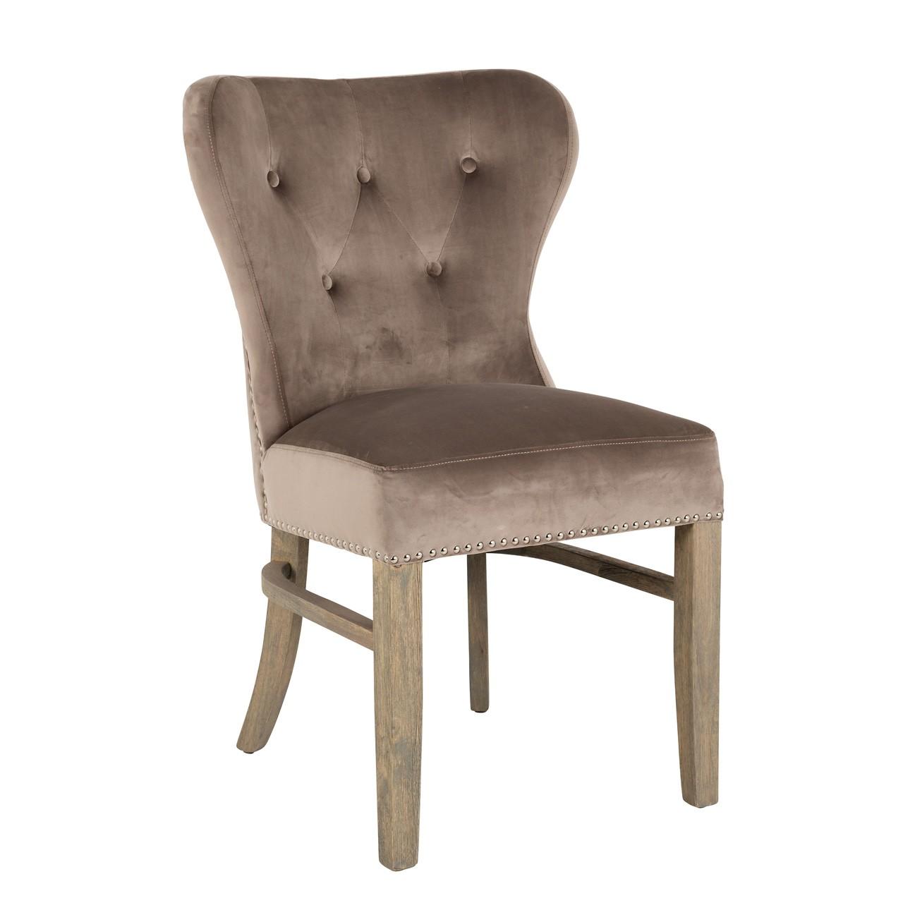 Picture of: Boston Chair Velvet Taupe And Blue Linen Mylestone Interiors Ltd